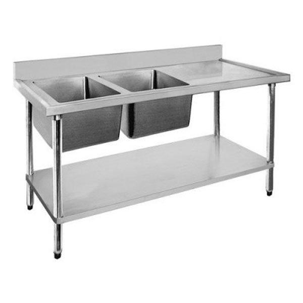 F.E.D. Economic 304 Grade SS Double Sink Benches 1500x600x900 with 400 and 500x400x250 sinks 1500-6-DSBL/DSBR