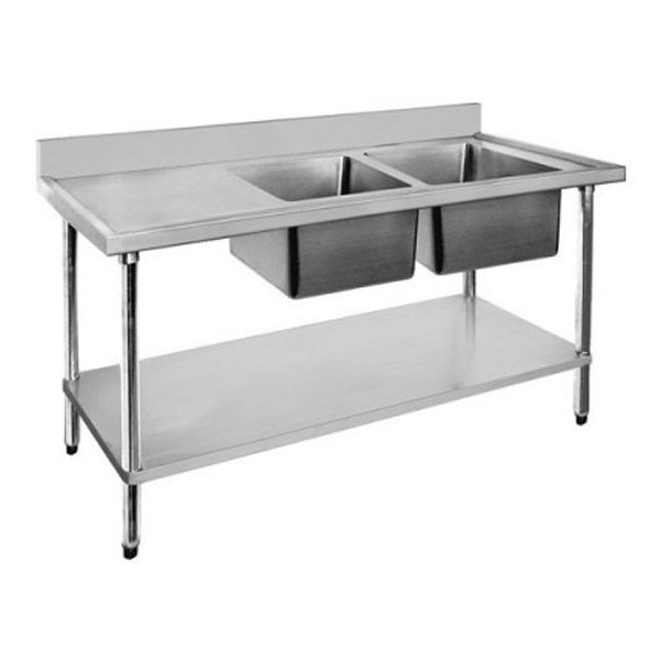 F.E.D. Economic 304 Grade SS Double Sink Benches 1800x700x900 with two 610x400x250 sinks 1800-7-DSBC/DSBL