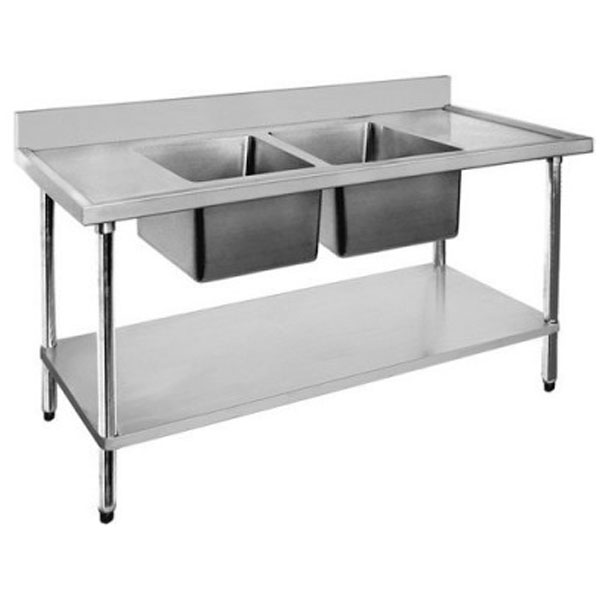 F.E.D. Economic 304 Grade SS Double Sink Benches 2400x600x900 with two 610x400x250 sinks 2400-6-DSBC