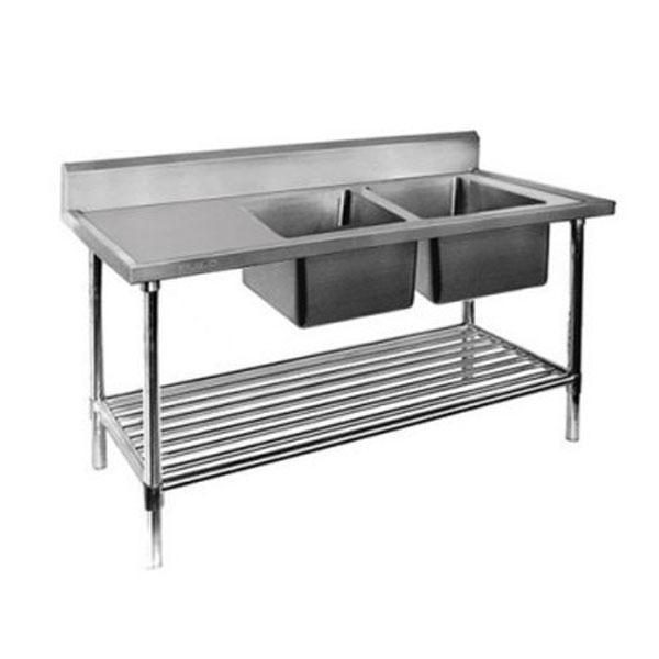 F.E.D. Double Right Sink Bench with Pot Undershelf DSB7-2400R