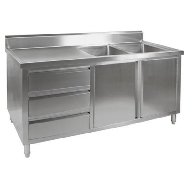 F.E.D. 'KITCHEN TIDY' Cabinet with Double Right Sinks DSC-2100R