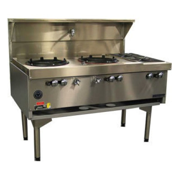 Goldstein Air Cooled Gas Wok - Double with Side Burners CWA2B2