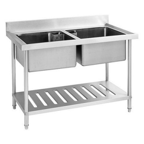 F.E.D. S/Steel Double Centre Sink Bench with Pot Shelf SDSB-7-1500R