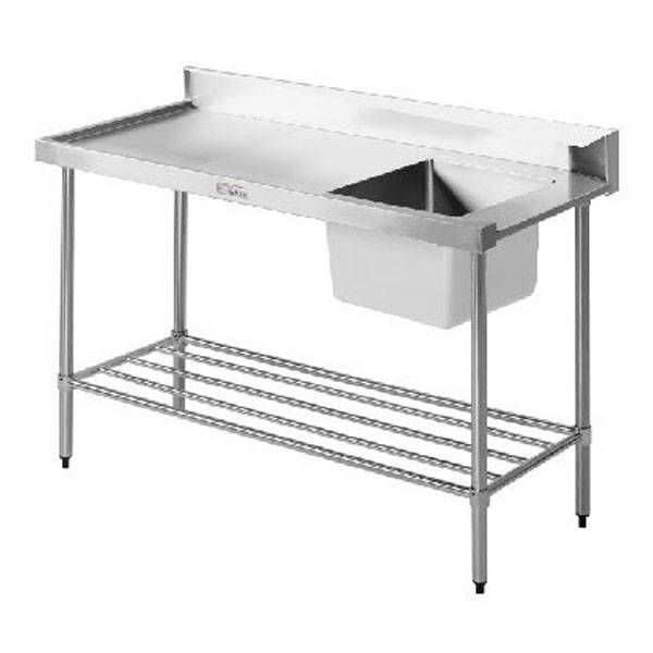Simply Stainless Single Sink Dishwasher Inlet Bench (600 Series) - 1200mm SS08.1200.L/R