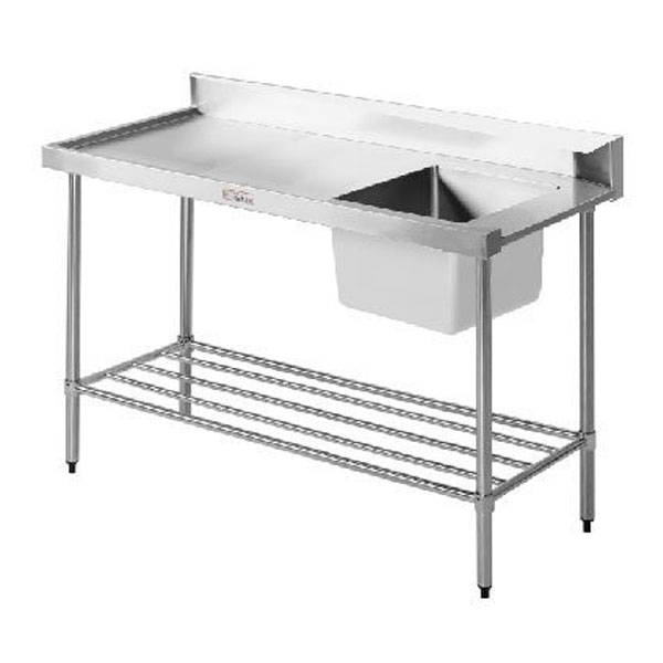 Simply Stainless Single Sink Dishwasher Inlet Bench (700 Series) - 1650mm SS08.7.1650.L/R